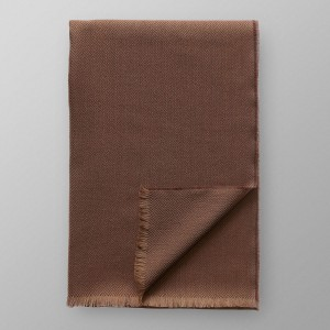 Brown Herringbone Merino Wool Scarf